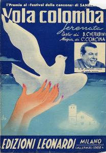 Jacquette del 78 giri Vola colomba (Sanremo'52), fu interpretata anche da Claudio Villa